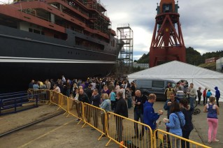 Launch of the 107m Kleven superyacht support vessel build no. 366