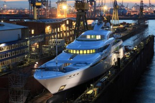 Launch of the 82m superyacht Project GRACEFUL at Blohm + Voss