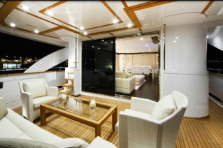 Luxurious exterior aboard the motor yacht Navetta 26
