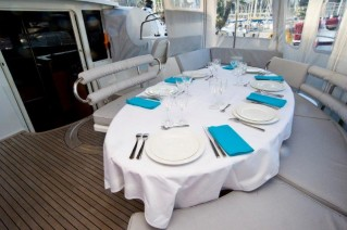 Luxury catamaran WHY NOT - cockpit dining
