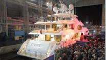 Luxury motor yacht Luna at launch - aft view