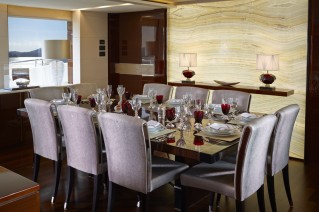 Luxury motor yacht X5 - Dining Table - Image credit to Princess Yachts International plc