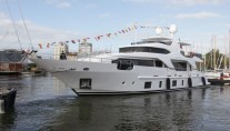 Luxury motor yacht Zehava on the water