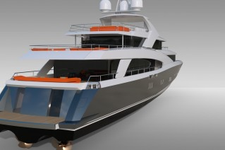 Luxury yacht 4700 Fly - rear view