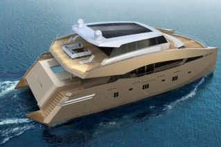 Luxury yacht 90 Sunreef Power - view from above