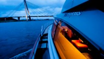 Luxury yacht AY74 by night