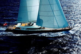 Luxury yacht Helios under sail
