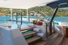 Luxury yacht Solandge - Pool bridge deck - Photo by Klaus Jordan