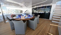 Luxury yacht UAQ 1 - upper deck dining area