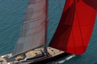 Luxury yacht Xnoi under sail