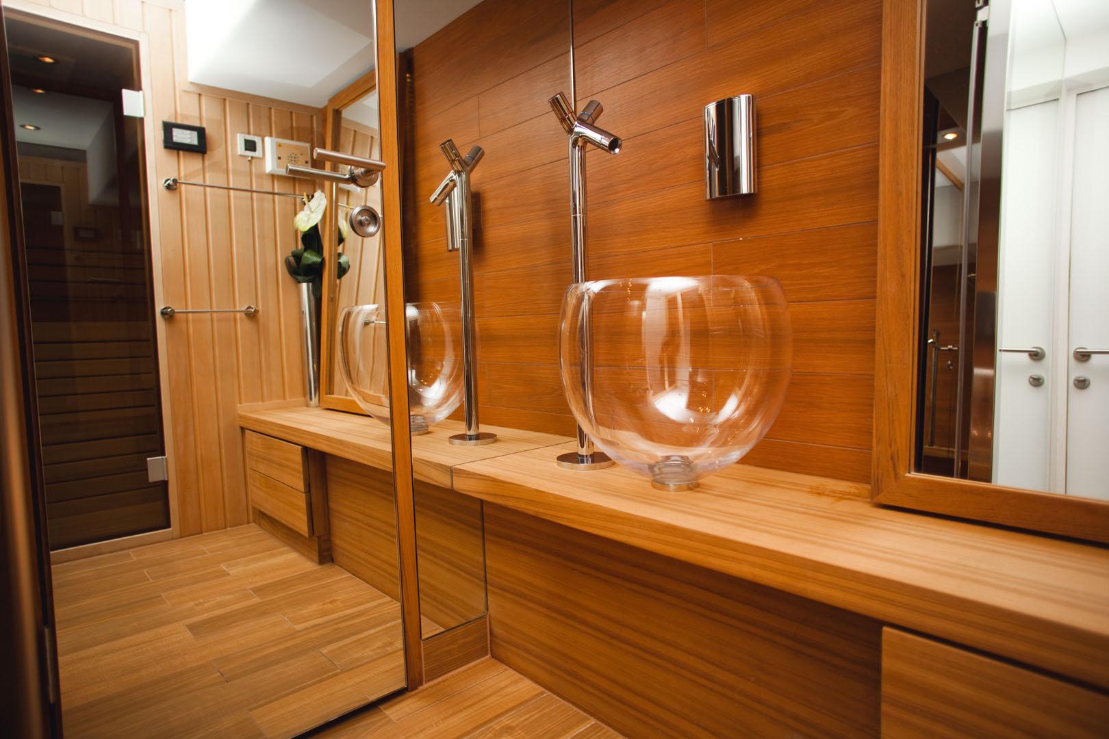 Luxury yacht charter my joy me suana standby marijana for Sauna bathroom ideas