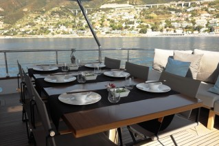 MY MOONRAKER - Aft deck alfresco dining