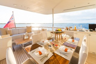MY PIONEER - Upper aft deck dining