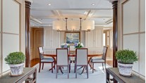 Main Deck Dining Area on superyacht Calliope - Interior by Rhoades Young Design