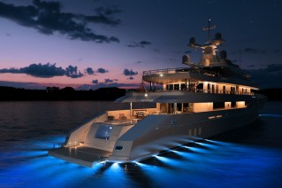 Mega Yacht Red Square Aft at Night - Image courtesy of Dunya Yachts