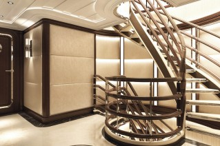 Mega yacht SOMETHING COOL - Staircase - Image credit to Dutchmegayachts