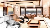 Megayacht Amels 199 Bridge Deck Saloon surrounded by glass