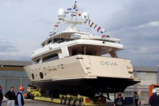 Motor Yacht Deva at her launch at the Ferretti shipyard in Italy.png