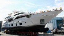 Motor Yacht Mary Rose at her launch from the Benetti Yachts shipyard in Viareggio Italy
