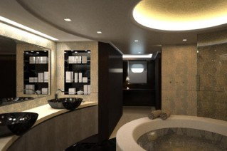 Motor Yacht Pherousa Bathroom - Image courtesy of Nereids Yachts