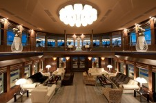 Motor Yacht Reborn - The Huge Atrium and Saloon Area