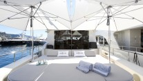 Motor Yacht THE OFFICE - Aft deck sunpad and umbrellas