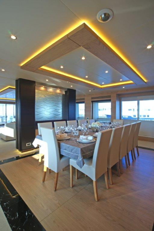 Motor Yacht Tatiana dining area - Designed by j Kinder - realised by Septemar Yacht Furniture