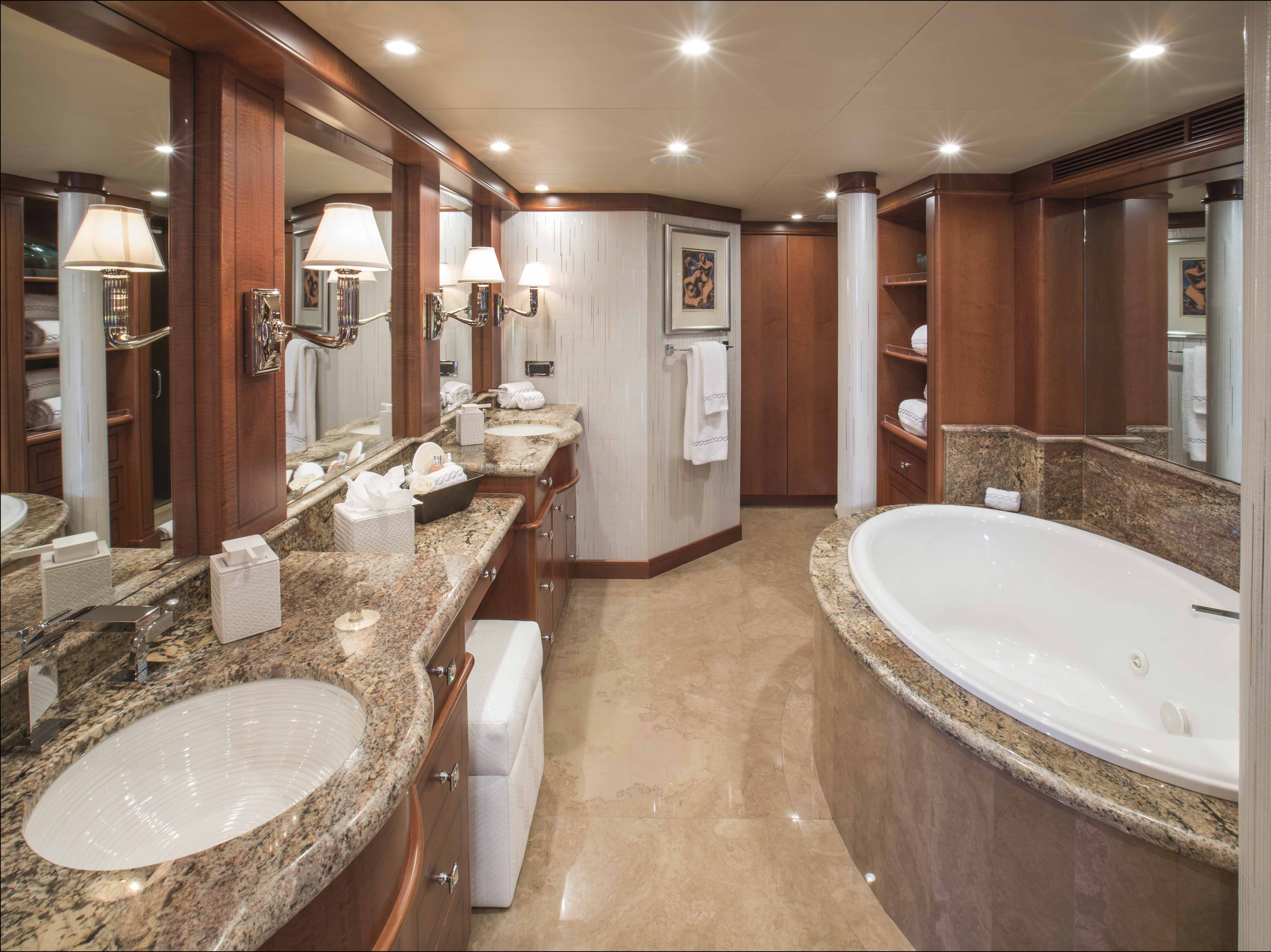 Motor yacht at last master ensuite luxury yacht for Bathroom designs in nepal