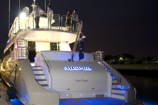 Motor yacht AUSPRO -  Aft View at Night