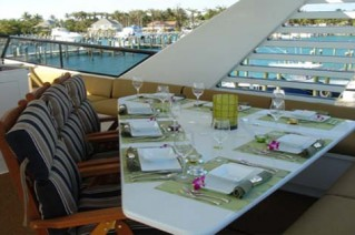 Motor yacht ISLAND TIME -  Al fresco Dining on the Top Deck