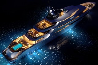Oceanco Super Yacht Y708 at night