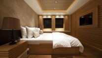 One of the luxurious cabins aboard the Pegaso megayacht