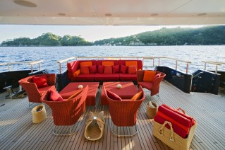 Outdoor lounging aboard the luxurious yacht BARAKA