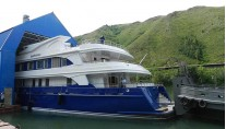 ProLine-developed 48m superyacht Bayterek (Project Ulba) leaving her shed