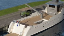 Project YXT One superyacht support vessel - aft view