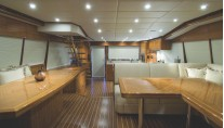 R75 Yacht - Aft Galley Saloon Custom Dinette Tables
