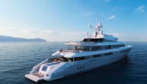 Red Square Mega Yacht Daytime View Image courtesy of Dunya Yachts