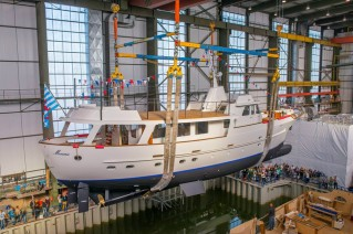 Relaunching of 1969 FEADSHIP motor yacht MONARA (ex Olympia) - Photo credit to Feadship