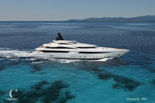 Rendering of Columbus Oceanic 70 Superyacht - side view