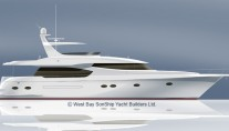 Rendering of West Bay SonShip 84 Pilothouse Yacht