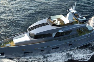 Rendering of luxury motor yacht Bering 70 by Bering Yachts