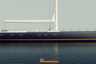 Rendering of the 33m Yachting Developments superyacht Hull 1012