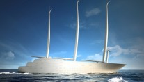 Rendering of the impressive 142m sailing mega yacht A
