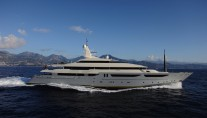 Running shot of the CRN built 72m motoryacht Azteca