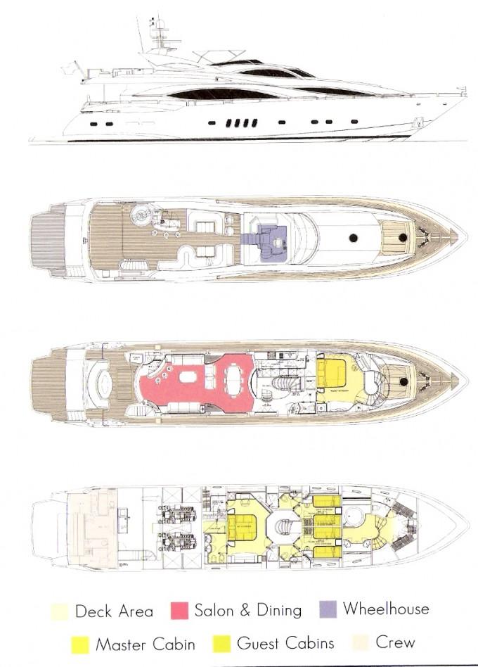 Luxury yacht charter shadow sunseeker 105 layout sunseeker for 105 plan
