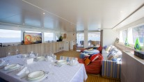 Sail yacht L'AQUILA - Dining looking Aft