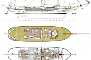 Sailing Yacht Princess Maria - General Arangement - Image coutesy of Dream Ship Victory