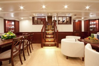 Sailing yacht Annagine - Lower Salon looking aft to Upper Salon