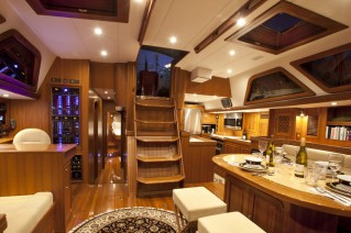 Sailing yacht Archangel -  Salon looking Aft