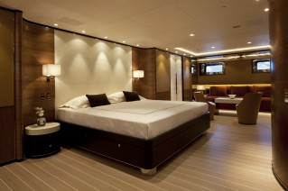 Sailing yacht FIDELIS -  Master Cabin and sitting area - Credit Perini Navi